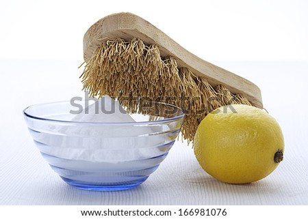 Natural cleaning tools and sodium bicarbonate for house keeping- Health protection  - stock photo