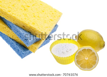 Natural Cleaning with Lemons, Sponges and Baking Soda Environmentally Friendly Concept. - stock photo