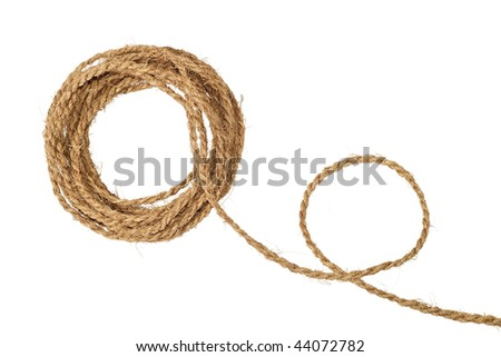 Natural coarse fiber rope coil isolated on white - stock photo