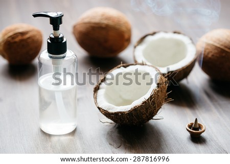 Natural coconut oil - stock photo