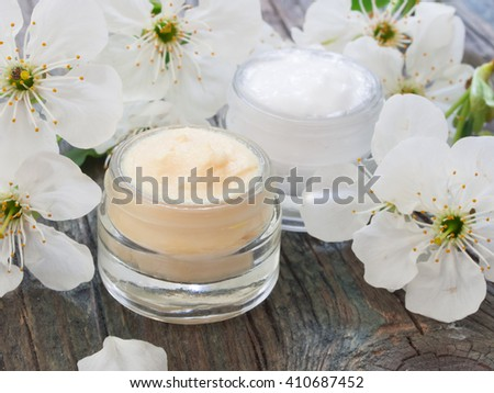 natural cosmetics, fresh as flowers - stock photo