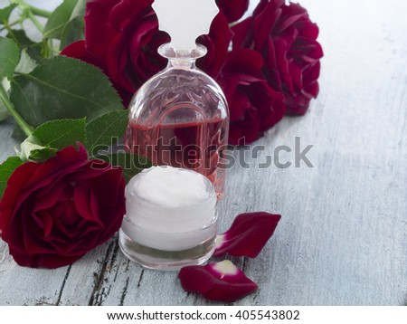 natural cosmetics,  fresh as roses - stock photo