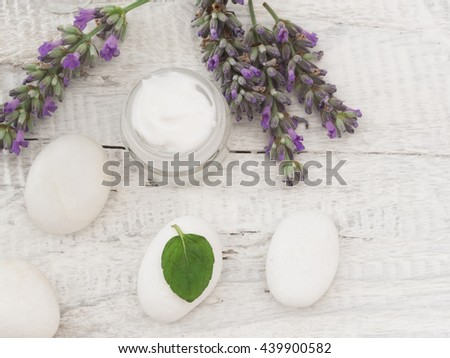 natural cosmetics with herbs - stock photo