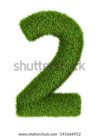 Natural 3d isolated photo realistic grass number 2 - stock photo