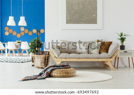 Natural Design In Contemporary Interior Of Open Plan Apartment With Dining  Space, Beige Sofa, Part 73