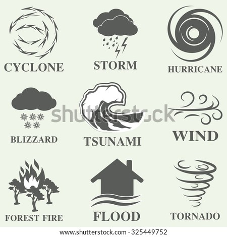 Natural disaster icons black set with tsunami snow storm thunder isolated  - stock photo