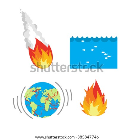 Natural disaster planet Earth. Meteorite flies to Earth. Flood, flooding. An earthquake split Earths crust. Crack on planet Earth. Set of disasters for people. threat to civilization. Danger on planet - stock photo