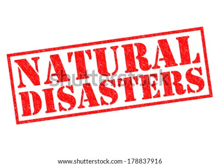 NATURAL DISASTERS red Rubber Stamp over a white background. - stock photo