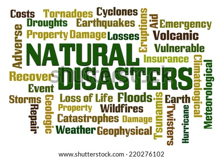 Natural Disasters word cloud on white background - stock photo