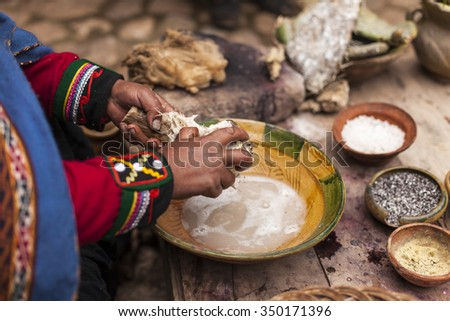 natural dyeing  wool process - stock photo