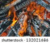 natural fire flame outdoors - stock photo
