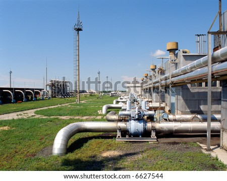 Natural gas control and conditioning station for energy consumption and distribution - stock photo