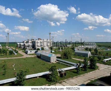 Natural gas control and conditioning station for energy consumption and distribution. - stock photo