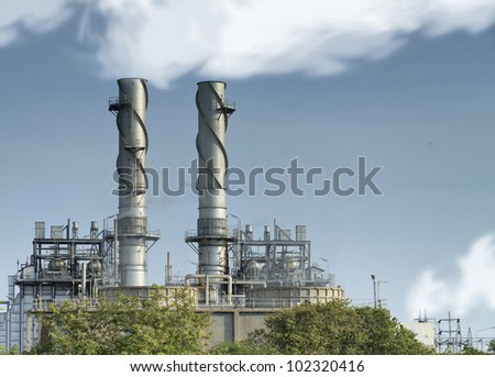 Natural gas factory with blue sky and steam. - stock photo