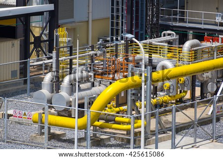 Natural gas final filter station in power plant - stock photo