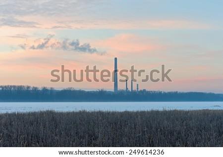 Natural gas generating station in burnsville along minnesota river and minnesota valley national wildlife refuge - stock photo