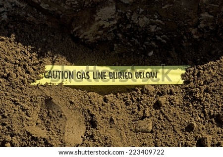 Natural Gas lines in a utilities trench at a commercial development building site