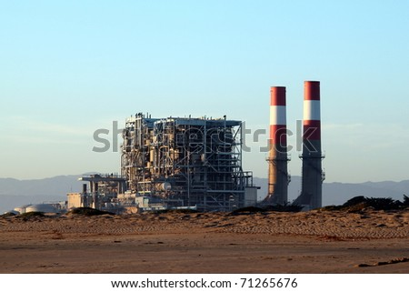 natural gas power statio near oxnard california - stock photo
