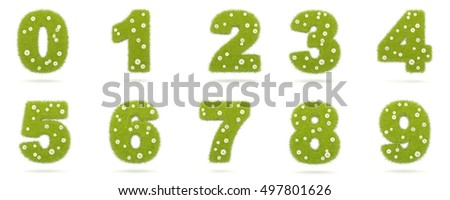 Natural green grass with camolines digits from 0 to 9. 3D illustration