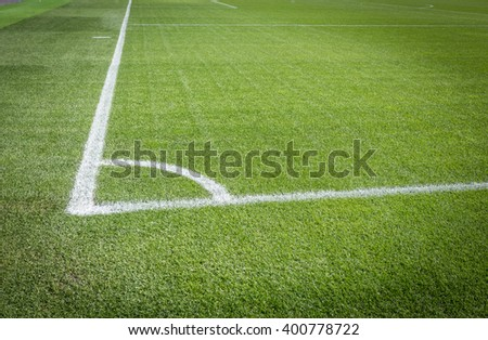 natural green soccer field with white lines