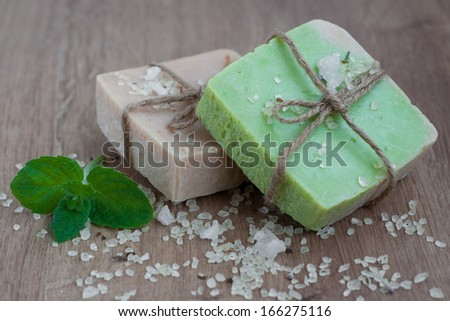 Natural handmade Herbal Soap with green mint  leaves