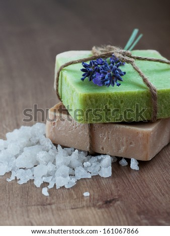 Natural handmade Herbal Soap with lavender and sea salt - stock photo