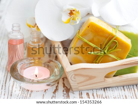 Natural handmade Herbal Soap with White Orchids