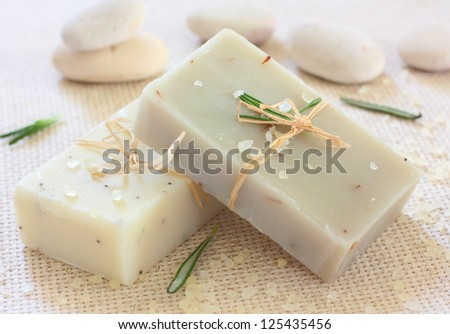 Natural handmade soap ,sea salt and stones - stock photo