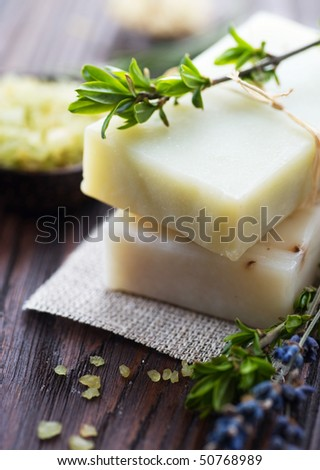 Natural Handmade Soap with herbs.Spa - stock photo