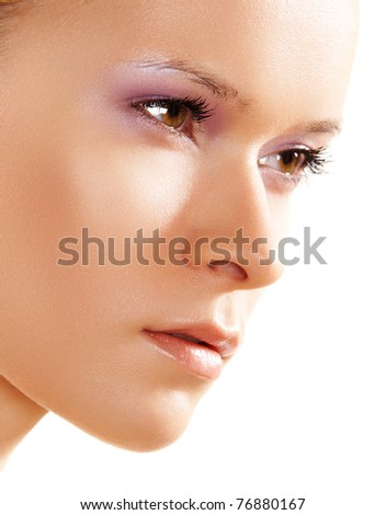 Natural health, wellness & beauty. Beautiful close-up portrait of sensual woman model with clean face on white background. Skin care - stock photo
