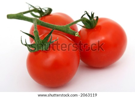 Natural healthy organic pepper tomatoes on green stalks, over white, macro closeup on white with copy space - stock photo