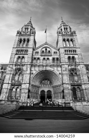 Natural History Museum at London in dramatic black and white