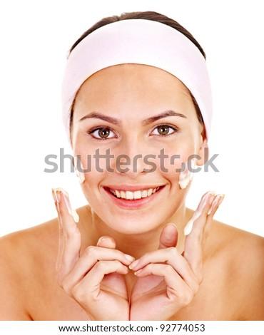 Natural homemade  facial masks . Isolated. - stock photo