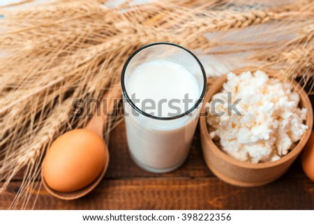 Natural homemade products: milk, cheese, sour cream and eggs on old wooden background with ears of wheat. With space for your text