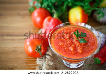 natural homemade sauce of tomatoes, peppers and vegetables - stock photo