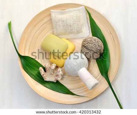 natural items for spa and massage on dish