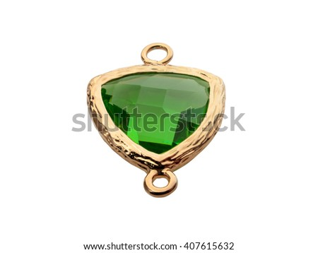 Natural jewelry gemstones green zircon bead in gold on white. - stock photo