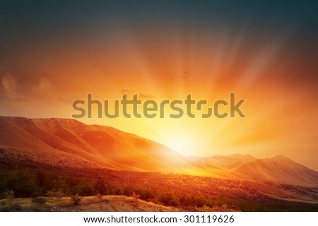 Natural landscape and sun rising at skyline - stock photo