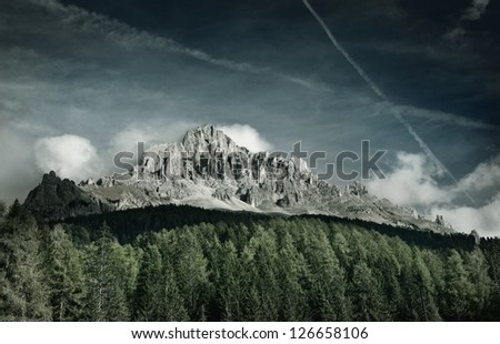 Natural landscape Latemar, Italy - stock photo