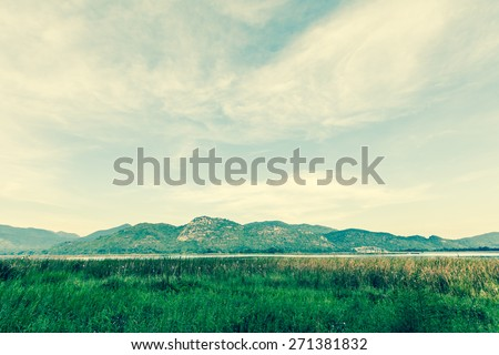 Natural landscape meadow with lake and mountain. Retro filter. - stock photo