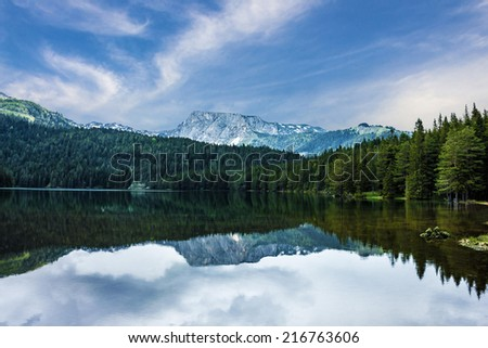Natural landscape. Mountain lake, Montenegro, Durmitor national park   - stock photo