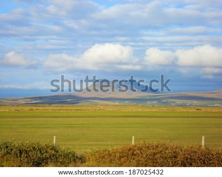 natural landscape with mountains in iceland  - stock photo