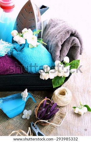 natural laundry powder and clothes, washing concept - stock photo