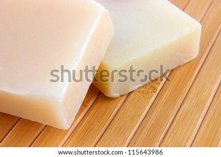 Natural lavender soap on bamboo