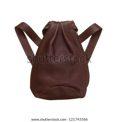 Natural Leather backbag Isolated On White Background - stock photo