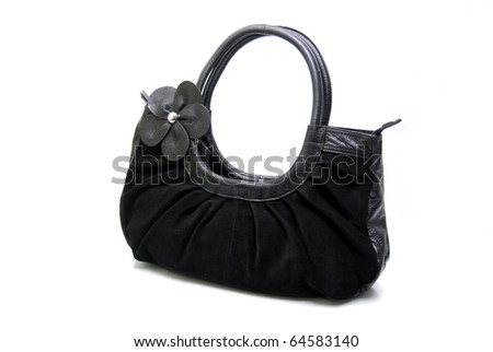 Natural Leather Handbag Isolated On White Background - stock photo