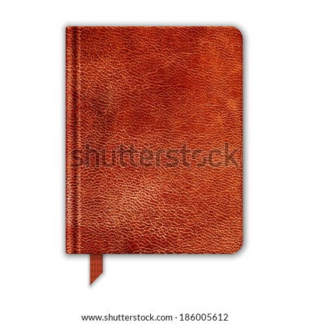 Natural Leather Notebook. Copybook With Bookmark. Raster Version - stock photo