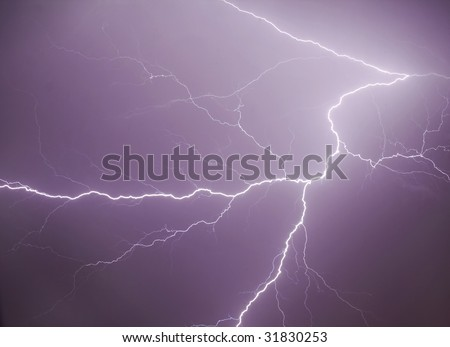 Natural lightning and thunder - summer storm