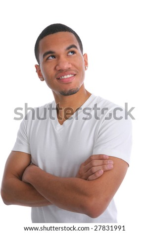 Natural Looking Smiling Young African American Male Headshot on Isolated Background - stock photo