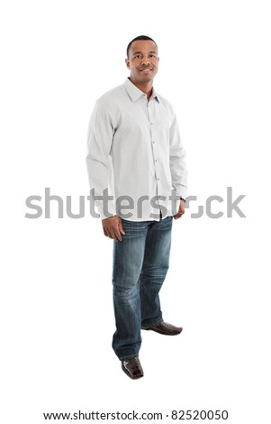 Natural Looking Smiling Young African American Male Model on Isolated Background Full Body Length Standing - stock photo